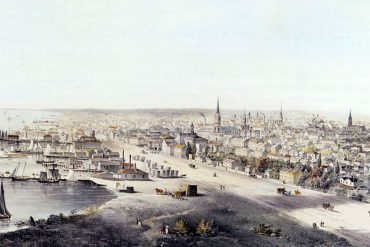 View of Toronto West from the top of the jail, circa 1854.