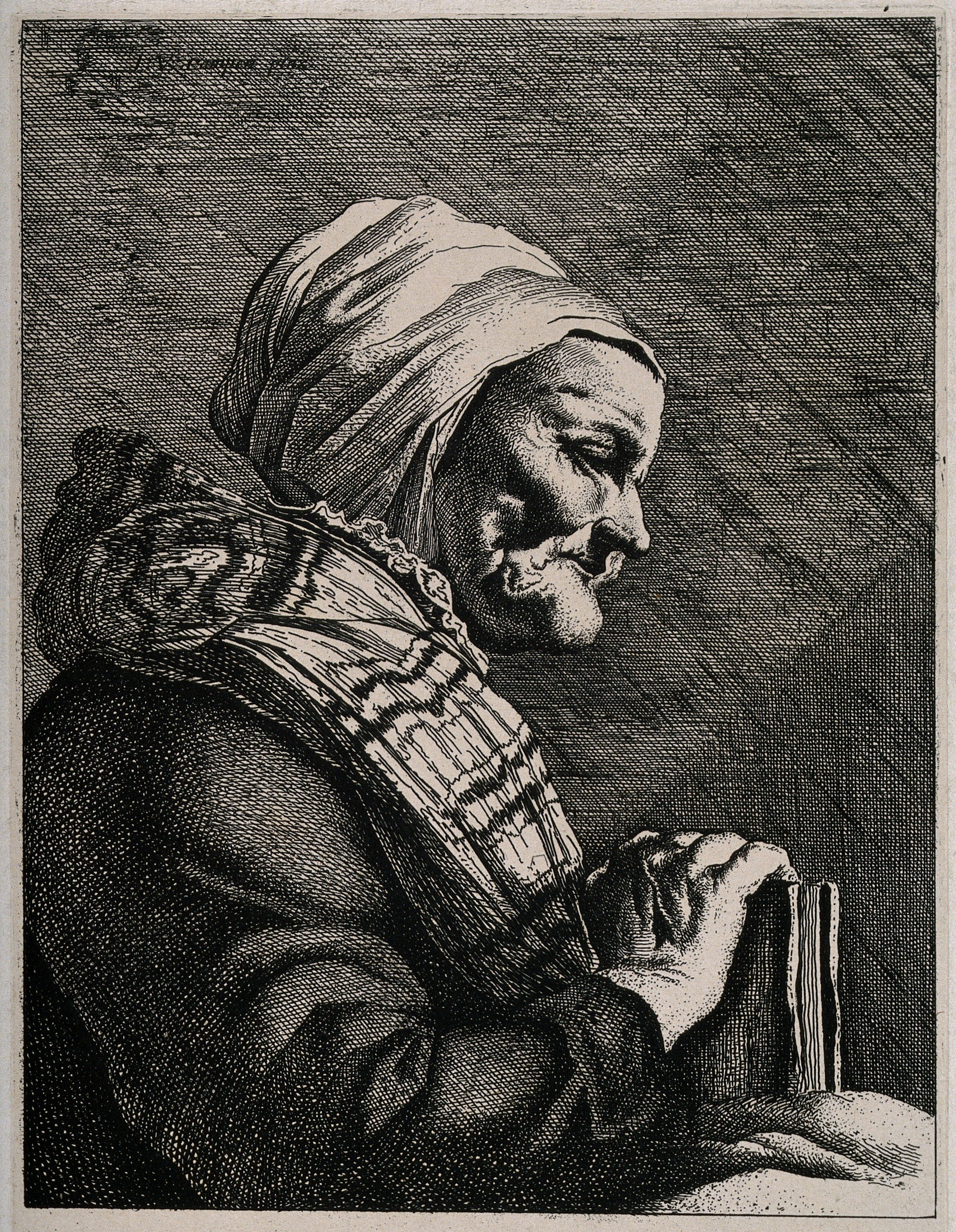 A_profile_of_an_old_blind_woman_holding_a_book._Line_engravi_Wellcome_V0015901