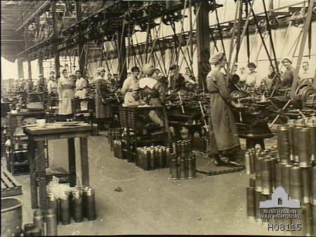 Munitionettes machining shell cases in the New Gun Factory, Woolwich Arsenal, London