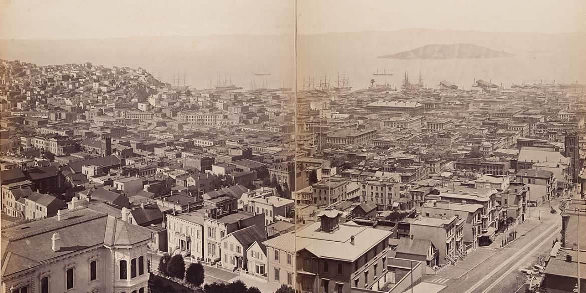 sepia toned image of San Francisco taken from Eadweard Muybridge's 1887 panoramic view photograph taken from the top of Mark Hopkins mansion.
