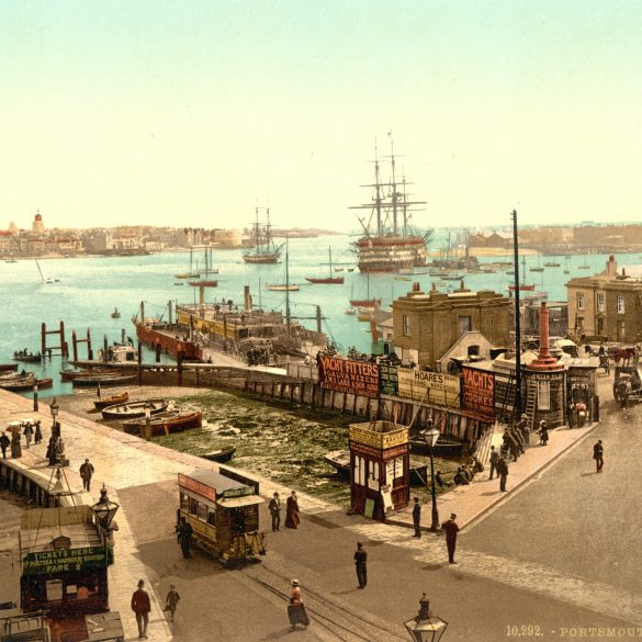 Photograph of the entrance of Portsmouth harbour taken from Gosport between 1890 and 1900