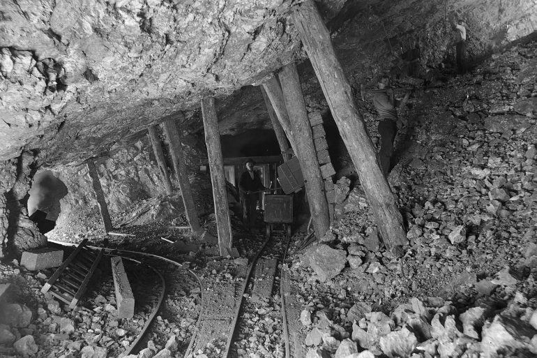 Inside an old mine
