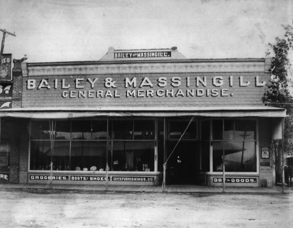 Bailey and Massingill General Store (built 1900), located at 4 North E Street in Lakeview, Oregon