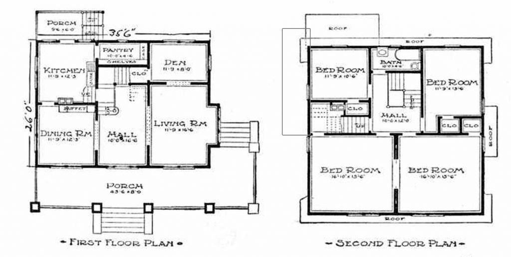 Floor Plan of 1913 Colonial Sears Home