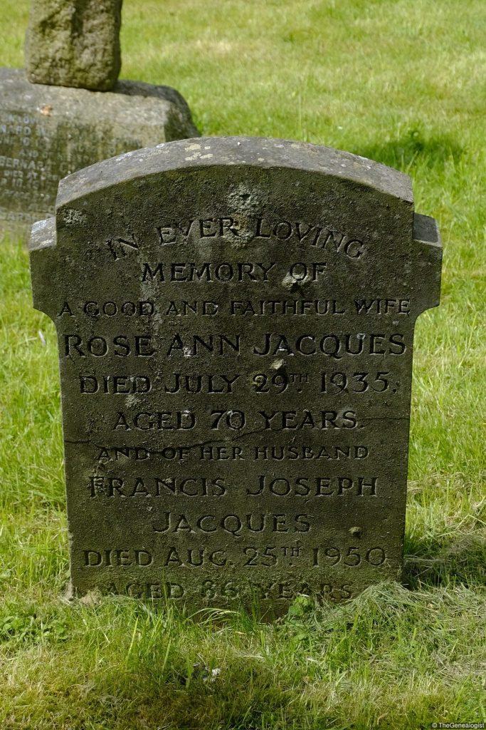Frances Jacques and Rose Ann Jacques Head Stone St. James Longborough