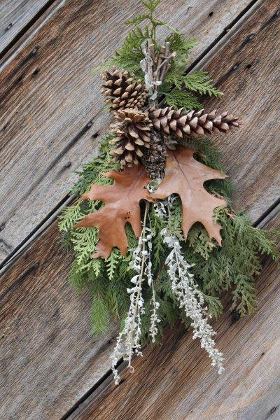 Greenery and pine cones