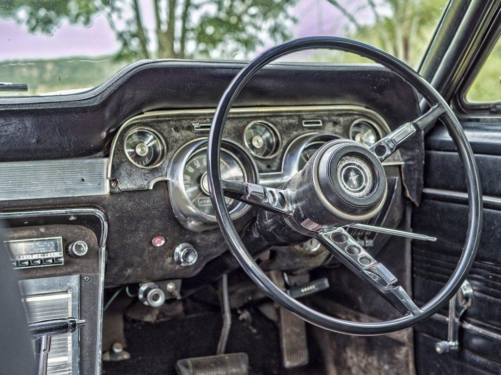 Steering wheel of an old car.